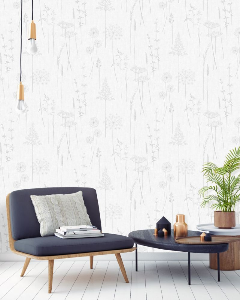 Graham and Brown Meadow Silver 104888 Wallpaper